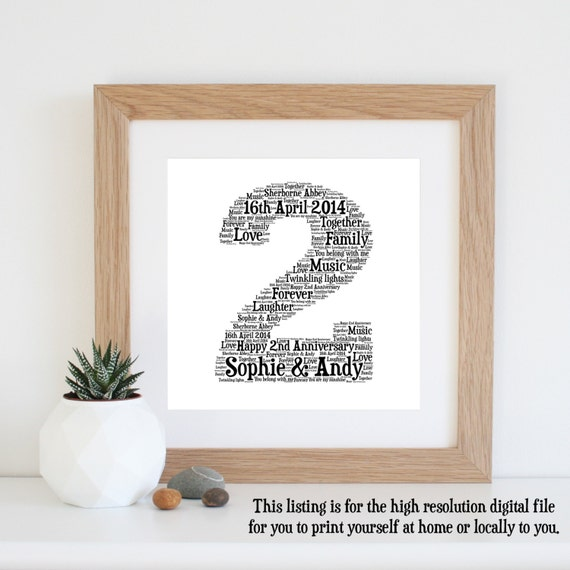 2nd Wedding Anniversary Gifts Uk: 2nd ANNIVERSARY GIFT Word Art Cotton By WordlyDesigns On Etsy