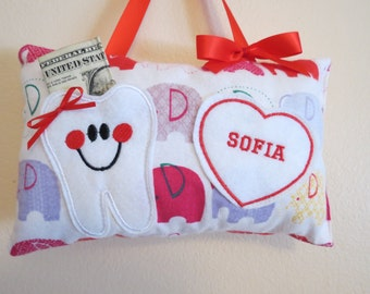 Elephant Tooth Fairy Pillow - Personalized - Embroidered Tooth Fairy Pillow