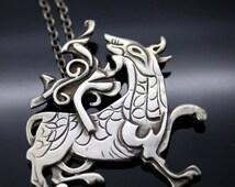 "Rare//Highly Collectible//Vintage//OMG Ola Gorie//Orkney Scottish Modernist//Viking Maeshowe Dragon//Sterling 925 Silver//22"" Long Necklace"