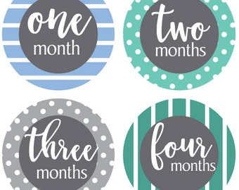 Baby Boy Month Stickers - Months 1-12 milestone stickers for baby's first year perfect for newborn photo sessions, sticks right on bodysuit