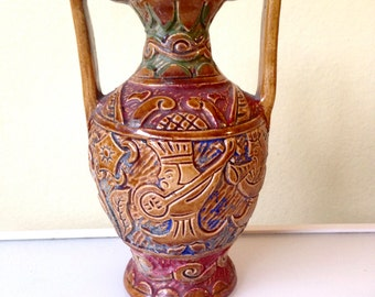 Unique Sgraffito Mid Century Modern Vase with Musicians Japan