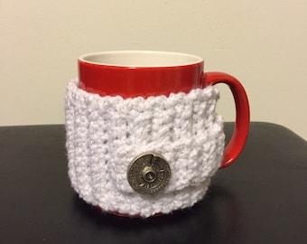 White Mug Sweater, white mug cozy, Crocheted Coffee mug Cozy, Crocheted Mug Sweater,  Crocheted Mug Sleeve, Mug insulator, crochet insulator