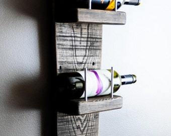 New Wall Hanging Wine Rack, Home Decor,  Reclaimed Wood, Rustic, Contemporary, Jacobean Finish,  Handcrafted