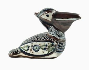 Vintage Hand Painted Tonala Santana Mexico Pottery Pelican