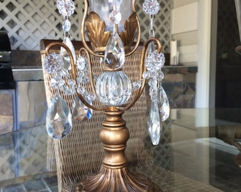 Golden Crystal Candle Holder