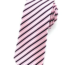 Pink striped 6.5 cm skinny tie. Slim Tie. Narrow Thin Tie. Skinny Tie. Formal Necktie. Pink tie. Skinny ties