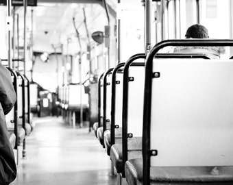 Black and White Photography - Simple Clean Modern Patterns Mood on Tram Photography Print 30x20 Large Wall Art 15x10 Wall Decor