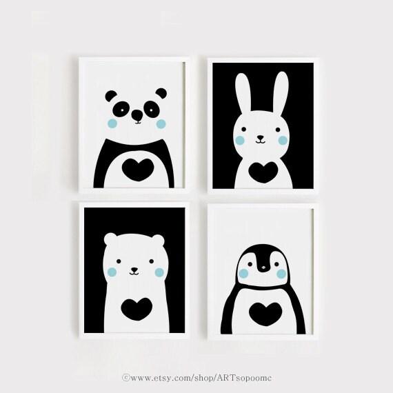 Black And White Kids Room: Printables Nursery Art Set Of 4 Cute Animals Art By ARTsopoomc