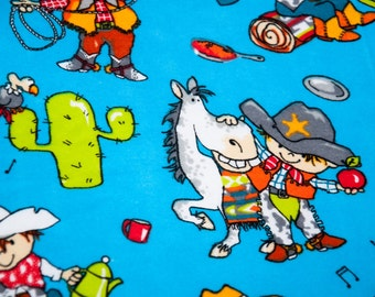 Handmade Cowboy Fitted Flannel Cot Sheet