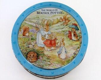 Beatrix Potter Tin Box,  Vintage Tin Cookie Box, Peter Rabbit and Friends