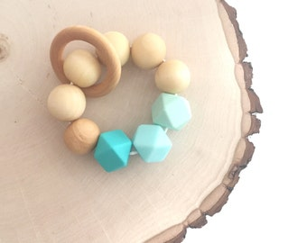 Wooden and Silicone Bead Teether, Teething Toy, Teething ring, Teething Bracelet, Mint, Blue and Turquoise.