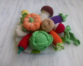 Knitted Crochet vegetables. Set of vegetables. Educational toy, Toys for children 0+. Toys for child development, baby toy, soft  amigurumi