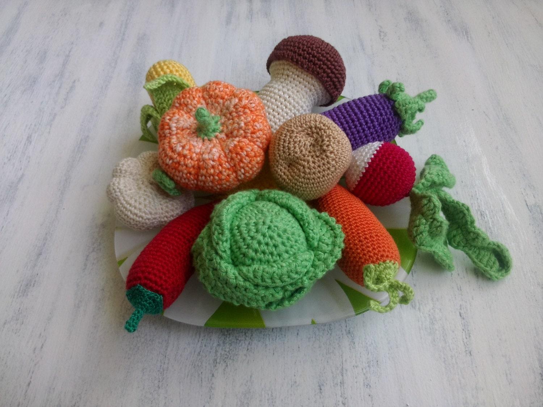 Knitting Patterns For Vegetables : Knitted Crochet vegetables. Set of vegetables. Educational