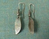 Rustic Gnarled Silver Dangle Earrings