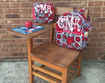 Personalized Backpack - Red Floral Backpack - Red Polka Dot Backpack - Red Floral Lunchbag - Red Polka Dot Lunchbag  - Girls Backpack