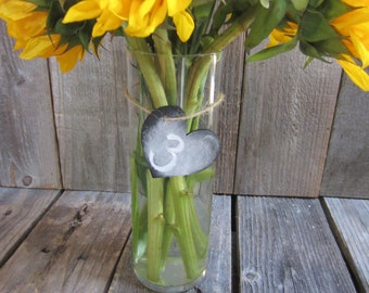 Chalkboard table numbers, chalkboard wedding decor, DIY wedding, chalkboard numbers, hanging table numbers, mason jar numbers, barn wedding