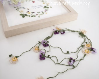 Crochet Chamomile & Viola Necklace material kit