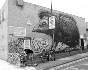 Graffiti Print, Street Art Print, London Photography, black and white, Fine Art Print, Contemporary Wall Art, Urban Decor, ROA Hedgehog