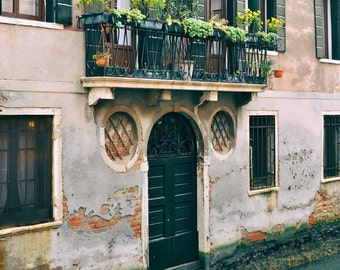 Venice Italy Photography, Europe Decor, Door, Balcony, Travel Photography, Fine Art Print, Architecture, Wall Art, Home Decor