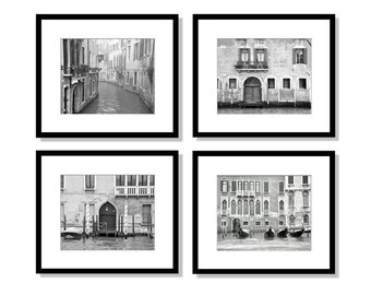 SALE, Venice Italy, Print Set, Black and white Photography, Europe Decor, gondola, canal, travel, architecture, Wall Art, Set of 4 prints