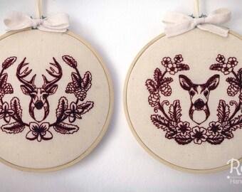 "Embroidered Deer, Stag & Doe, with Laurel 5"" Embroidery Hoop"