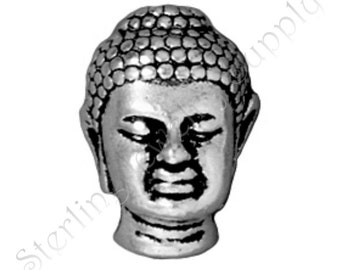 TierraCast Buddha Bead, Antique Silver-Plated Large Hole Buddha Bead, Wholesale Buddha, Authorized TierraCast Dealer, USA Seller (T142)