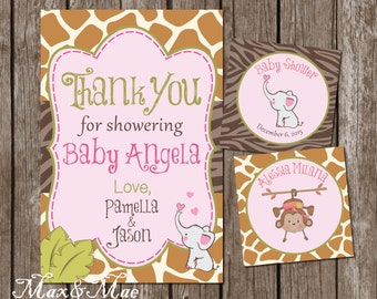 Safari Baby Shower, Jungle Theme, Elephant Baby Shower Thank You, Safari Theme, Cupcake Toppers, Digital, Printable