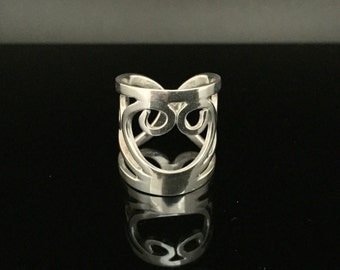Wide Swirl Ring // 925 Sterling Silver // Hand Cut // Silver Rings // Size 6