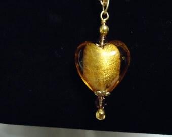 Golden Lampwork Heart Necklace