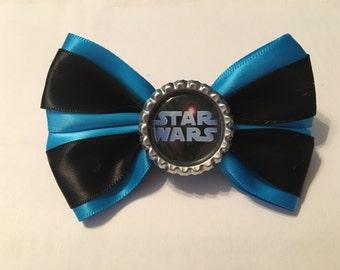 Blue and black Star Wars logo hair bow