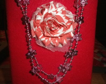 Pink Beaded Flower Necklace, Vintage Necklace, Fashion Jewelry