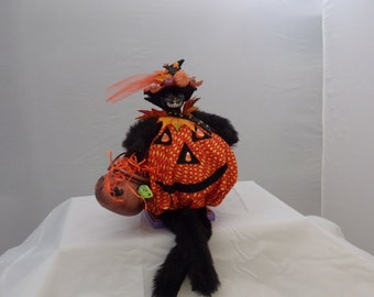 Candy Corn Pumpkin Cat