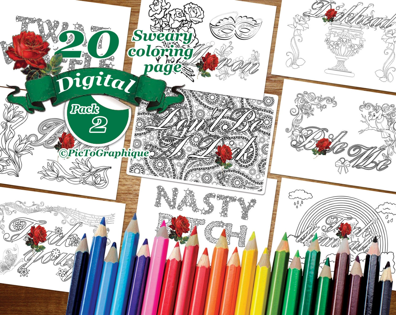 Sweary Coloring Book Download : 20 SWEAR Coloring Word Instant Download Digital Pack of 20