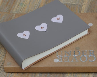 Personalised leather photo album with hearts - Valentine, Christmas and anniversary album, hearts embossed with copper initials