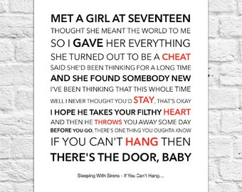 Sleeping With Sirens - If You Can't Hang... - Lyrical Song Art Poster