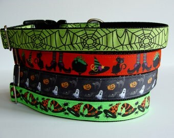 READY TO SHIP! Halloween Dog Collars - Spider Web, Witch Brew, Spooky, Witch Hat