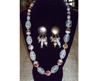 Glass Bead Necklace and Earrings - free shipping