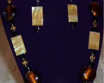Beaded Necklace and Earrings - Mother of Pearl and Glass Beads - Free Shipping