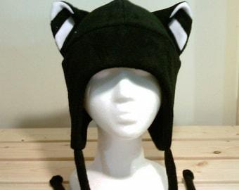 Cat Hat - Cat Ears - Cat Ear Hat - Black Cat - Cat Fleece Hat - Cat Aviator Hat - Cat Earflap Hat - Cosplay Hat - Anime Hat - Rave Cat Hat