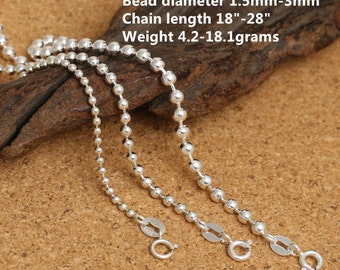 "Sterling Silver Bead Chain, Sterling Silver Bead Ball Chain, 925 Silver Bead Chain Necklace 1.5mm 2mm 3mm 18 20 22 24 26 28"" Inches - E456"
