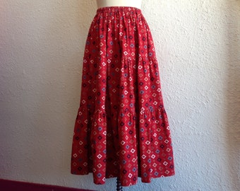 1980s Southwestern tiered maxi skirt