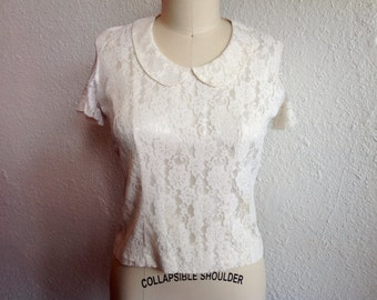 1950s Cream lace blouse with Peter Pan collar