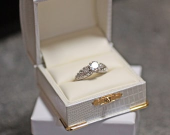 Antique Style White Pearl Faux Iguana Engagement Ring Box with Gold Clasp