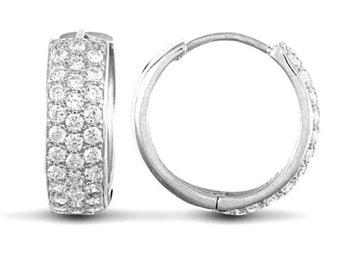 9ct White Gold Huggie Earrings With Cubic Zirconia Stones