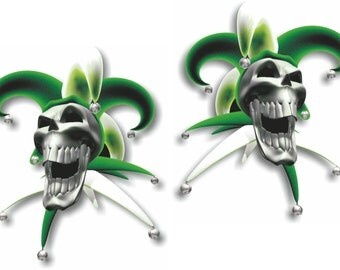Vinyl sticker/decal Jester laughing skull green