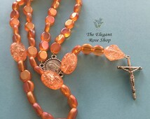 Handmade, Elegant Catholic Rosary in Orange