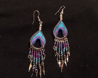 Turquoise Purple Blue Native Earrings, Teardrop Earrings, Silver Earrings