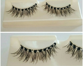 60% OFF Black/White Rhinestone False Eyelashes LL704