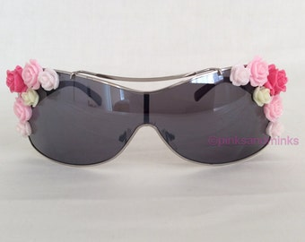 Bad Girl Vibes - Embellished Sunglasses Shield Mirrored Pink Roses Flowers Floral Sunnies Shades