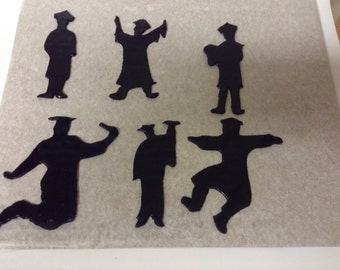 Fondant Graduate Silhouette Cake Toppers (Set of 6)